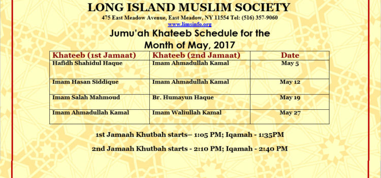 Jumu'ah Khateeb Schedule for the Month of May, 2017